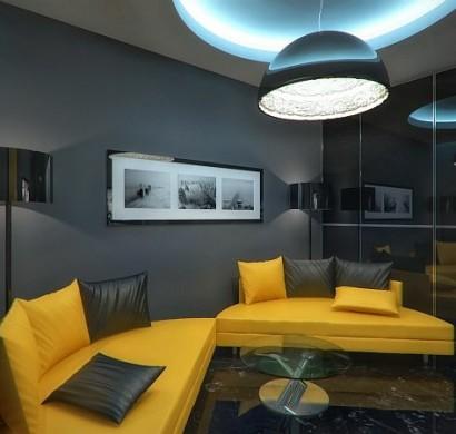 Luxus Apartment in Gelb und Schwarz von Geometrix entworfen