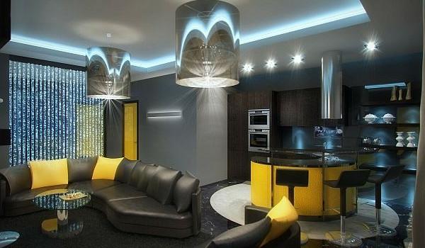 luxus apartment in gelb und schwarz von geometrix entworfen - Wohnzimmer Gelb Schwarz