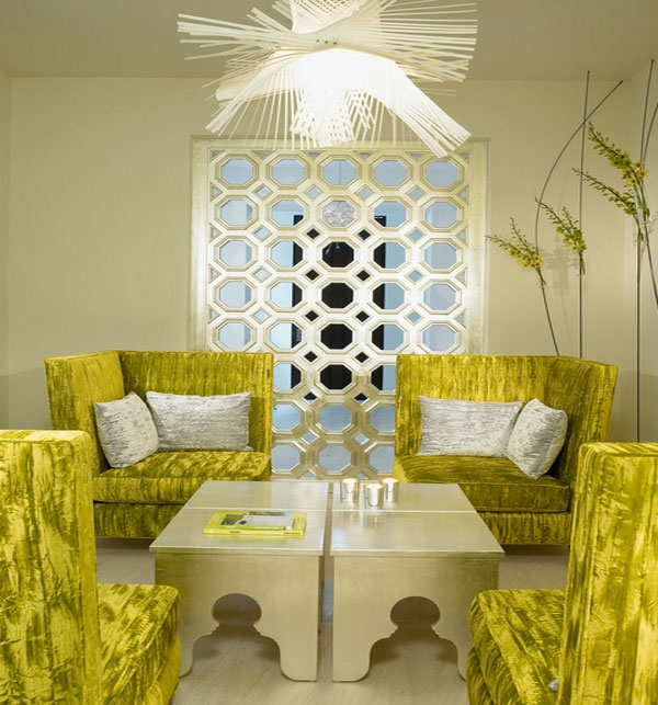 Möbel fürs Wartezimmer gepolstert bequem sofa leuchtend kühn farben