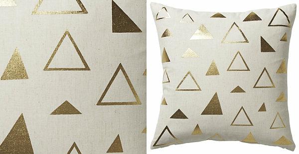 Möbel Dekoideen modern geometrisch kissen golden dreieck