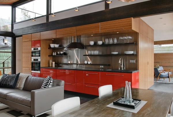 Metall-Akzente als Dekoration küche rot farbe
