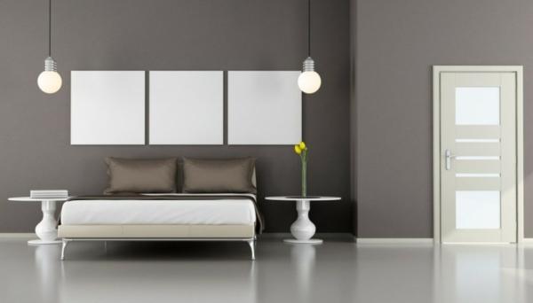 Minimalistische Schlafzimmer Ideen hängelampen glühbirnen