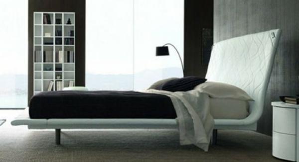 Minimalistische betten Schlafzimmer Ideen kopfteil gepolstert