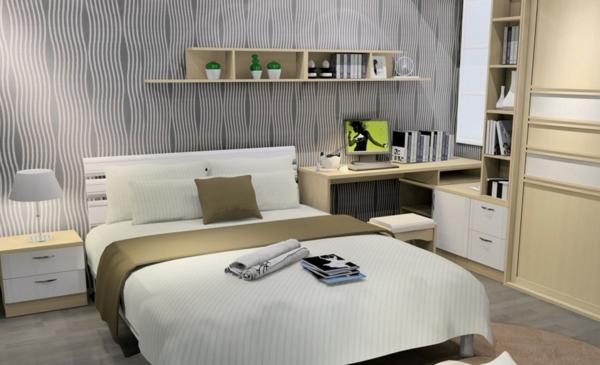 Minimalistische Schlafzimmer Ideen regale bücher kissen