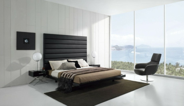 Minimalistische Betten Schlafzimmer Ideen Teppich Braun Fenster Meer