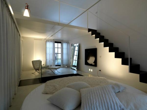 Minimalistische betten Schlafzimmer Ideen treppe geländer rund bett