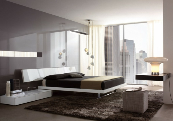 Minimalistische betten Schlafzimmer Ideen weicht teppich städtisch umgebung