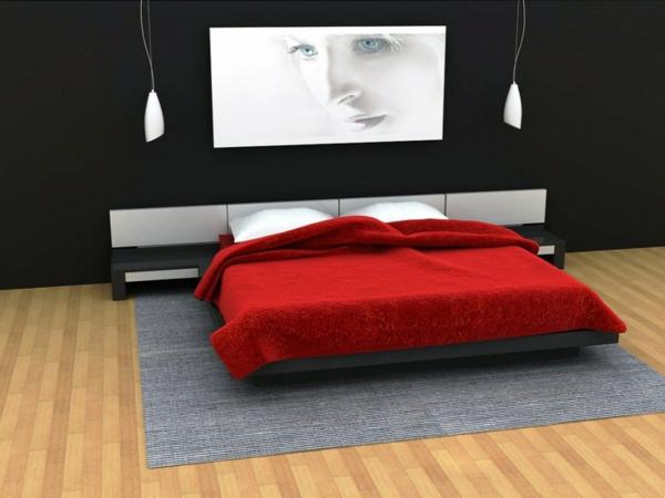 Minimalistische rote Schlafzimmer bettdecke gemälde foto