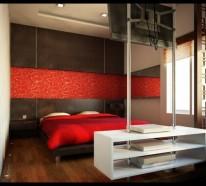 Minimalistische rote Schlafzimmer - Vibrierende rote Farbe