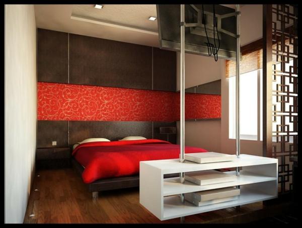 Minimalistische Rote Schlafzimmer - Vibrierende Rote Farbe Schlafzimmer Rote Wand