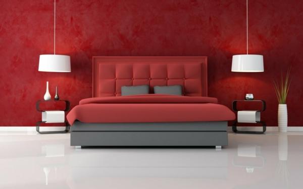 Minimalistische rote Schlafzimmer kopfteil gepolstert hängelampen  weiß