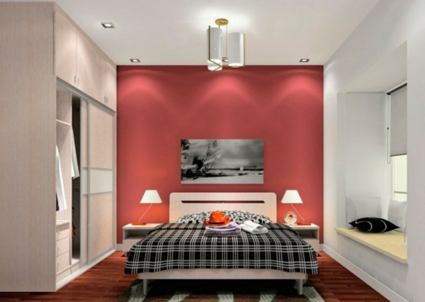 minimalistische rote schlafzimmer vibrierende rote farbe. Black Bedroom Furniture Sets. Home Design Ideas