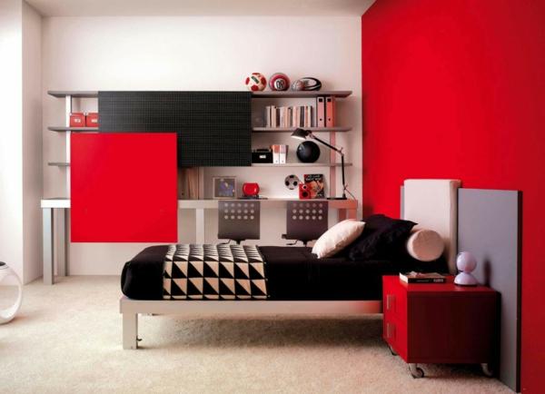 Minimalistische rote Schlafzimmer wand kühn knall nachttisch rollen