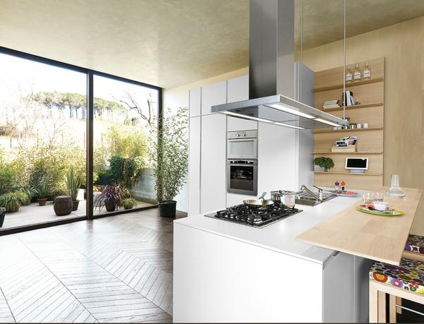 Italienische Küche Orange Glanzvoll Laminat Oberfläche Moderne Italienische  ...