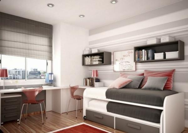Schlafzimmer gestalten bett grau bettwäsche