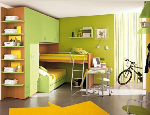 Multifunktionales Schlafzimmer gestalten grün gelb hochbett treppe