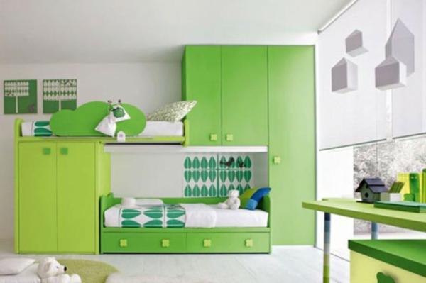 Multifunktionales Schlafzimmer gestalten grün mobiliar kleiderschrank