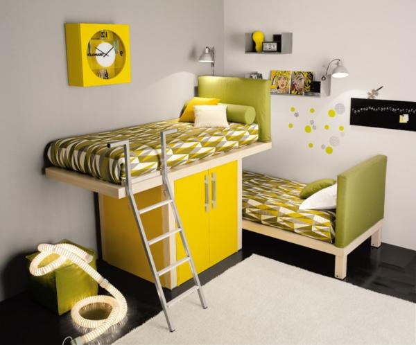 Multifunktionales Schlafzimmer gestalten kühne farben gelb grün pop art