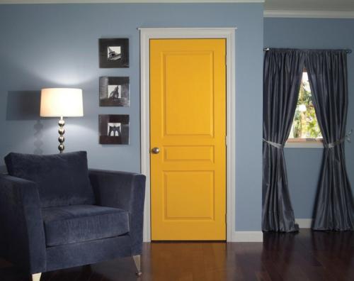 Einrichtungsideen für die Zimmertüren hellgelb
