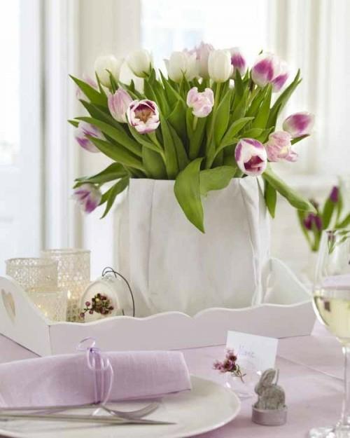 Osterdeko  Rosa und Lila basteln tulpen frühling