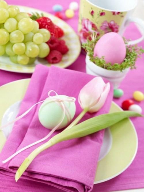 Osterdeko  Rosa und Lila basteln tulpen