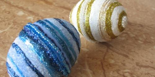 Ostereier mit Perlen verziert originell blau golden