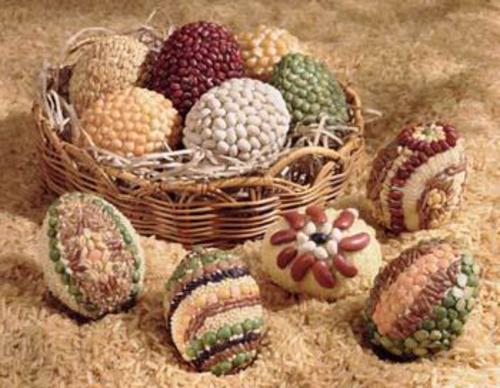 Ostereier  Perlen verziert originell erdige töne