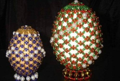 Ostereier Mit Perlen Verziert Osterdeko Selbst Basteln