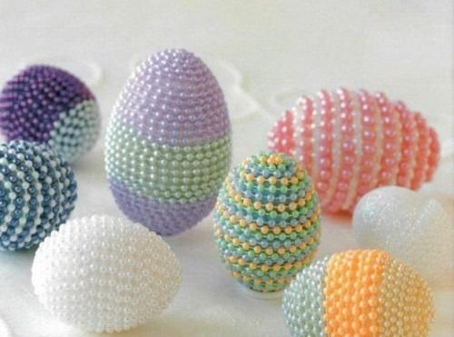 Ostereier Perlen verziert originell pastellfarben