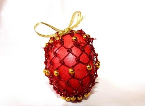 Ostereier Perlen verziert originell rot zierband gelb