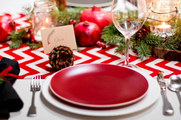 Partydeko und Partyartikel tischdeko rot chavron muster tischdecke