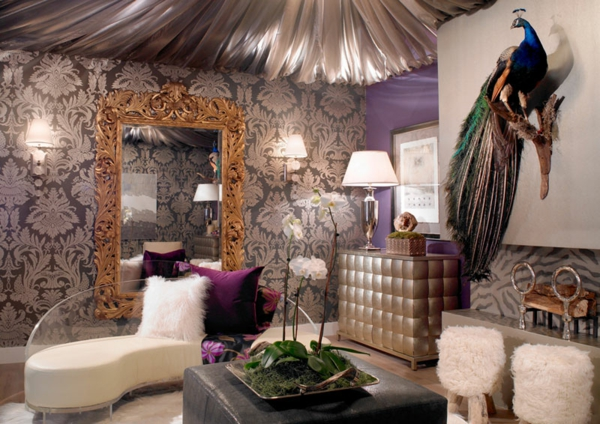 Pfauenfedern deko im wohnzimmer trends
