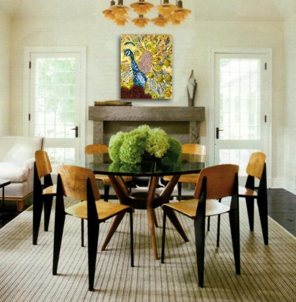 Pfauenfedern Deko im Wohnzimmer – Trends 2019 - Dekoration