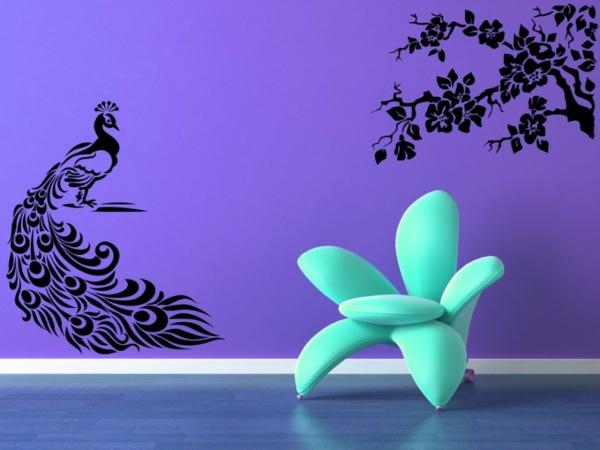 Pfauenfedern Deko Wohnzimmer Lila Wandgestaltung Wandtattoo