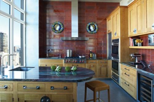 Einrichtungsideen  Küchen glanzvoll fliesen marmor