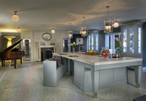 Praktische Einrichtungsideen Küchen graue oberflächen mosaik boden