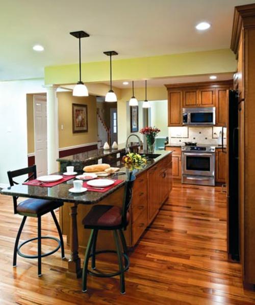 Einrichtungsideen für Küchen holz bodenbelag platten