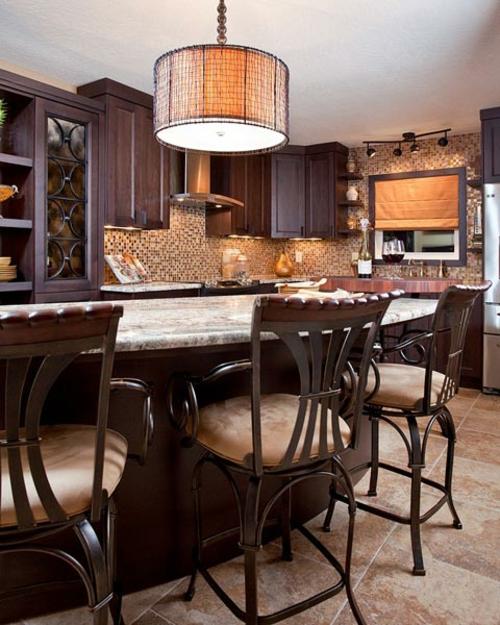 funktional Einrichtungsideen für Küchen stühle fliesen lampenschirm