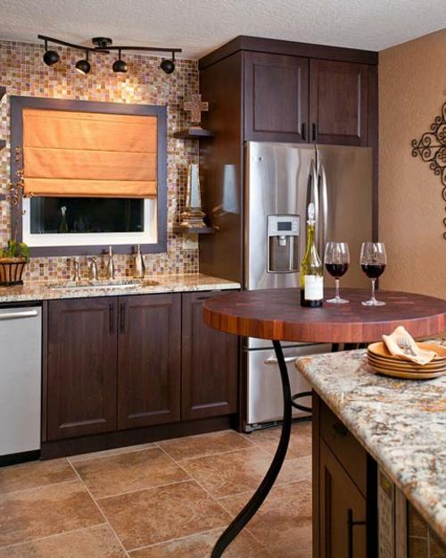 Praktische Einrichtungsideen für Küchen tisch bar holz
