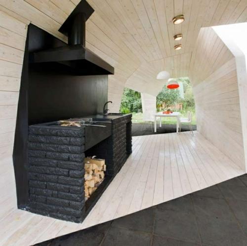 Praktische Küche Garten gestalten brennholz backstein