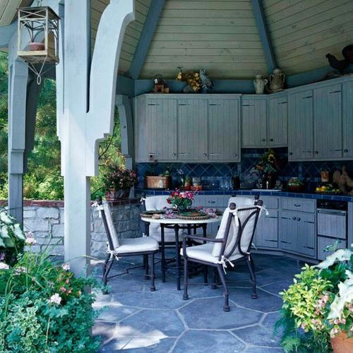 Praktische Küche im Garten gestalten esszimmer auflagen