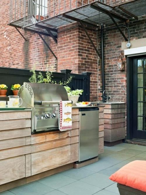 Praktische Küche im Garten massiv holz möbel