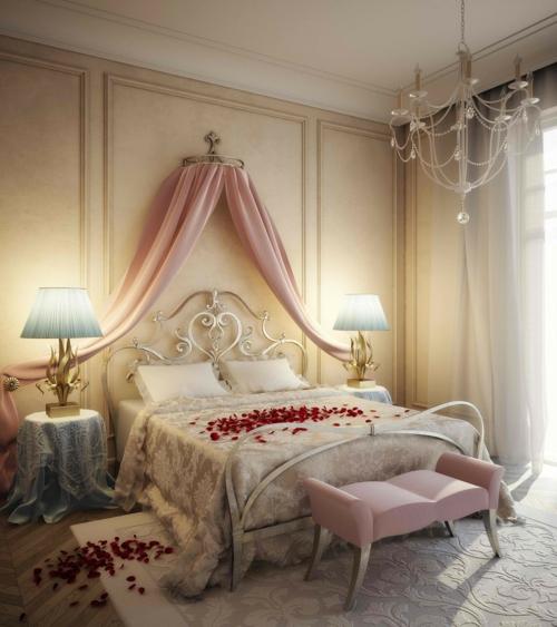 Romantik im Schlafzimmer zum Valentinstag baldachin rosa
