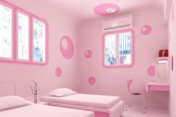 Rosa Kinderzimmer Gestalten Einzelbetten Fenster