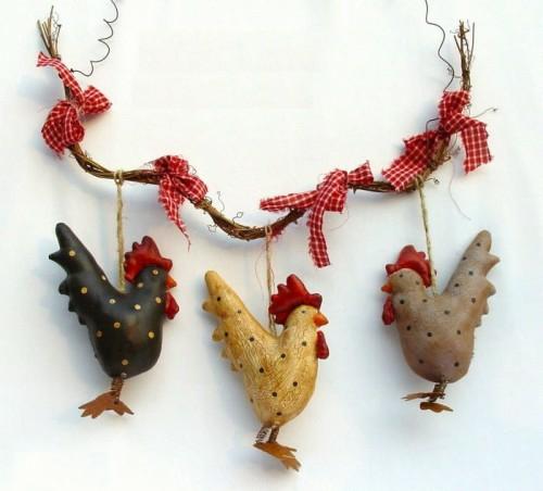 Rote Ostereier  hühner girlande kette