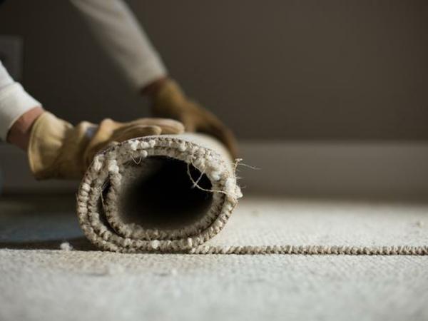 Teppichboden entfernen materialien rollen streifen