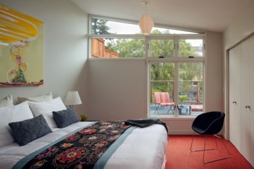 Teppichfliesen mit Stil anordnen balkon schlafzimmer trennwand