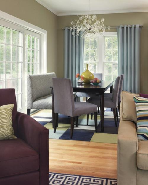 Teppichfliesen mit Stil anordnen wohnzimmer esstisch