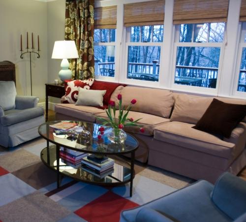 Teppichfliesen  Stil anordnen wohnzimmer sofas fenster tulpen
