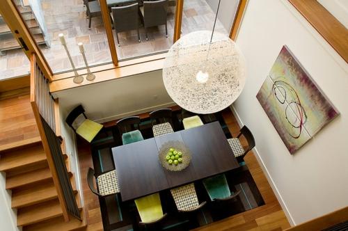 Teppichfliesen mit Stil anordnen wohnzimmer von oben hängelampen